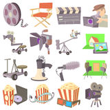 Movie cinema symbols icons set, cartoon style. Movie cinema symbols icons set. Cartoon illustration of 16 movie cinema symbols vector icons for web Stock Images
