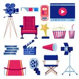Movie and cinema theater vector flat icons set. Video and film production design elements. Multimedia maker equipment