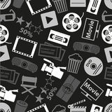 Movie and cinema vector icons seamless dark pattern eps10 Stock Image