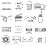 Movie and cinema vector simple outline icons set Stock Photography