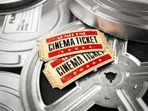 Movie, cinema vintage concept. Tickets on retro film reels and b. Oxes. 3d Royalty Free Stock Image