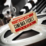 Movie, cinema vintage concept. Tickets on retro film reels and b. Oxes. 3d Royalty Free Stock Images