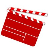 Movie clap board in red. Illustration of a red movie clap board isolated on white background Stock Images