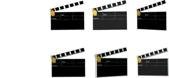 Movie clap boards in 2d and 3d Royalty Free Stock Photo