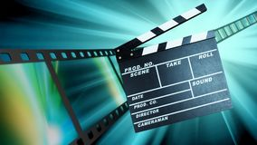 Movie clapper template on blurred background. Movie clap clapper take action entertainment blue background Royalty Free Stock Image
