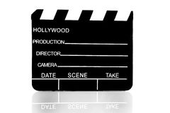 Movie clapboard. Used by movie directors over white background Stock Photography
