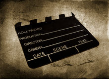Movie clapboard. Used by movie directors over vintage background Royalty Free Stock Image