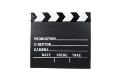 Movie Clapboard. A movie clapboard against a white background Stock Image