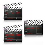 Movie clapboard in different positions. Movie scene clapboard in different positions on white background Stock Image