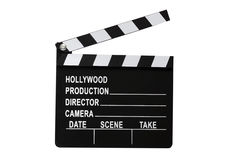 Movie Clapboard Isolated. On white background with clipping path Stock Photography