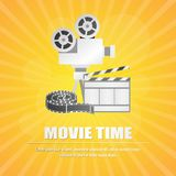 Movie clapboard, with movie strip at yellow background vector. Illustration Stock Image