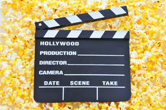 Movie Clapperboard on Popcorn stock photography