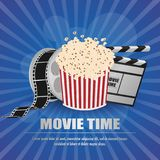 Movie clapboard, with movie strip and popcorn at yellow background vector. Illustration Royalty Free Stock Image