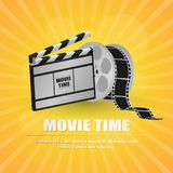 Movie clapboard, with movie strip at yellow background. Vector illustration Stock Photo