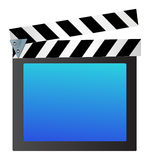 Movie clapper. An illustration of a blue movie clapper on whtie background Royalty Free Stock Photo