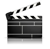 Movie clapper. White background with one black movie clapper Stock Photo