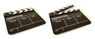 Movie clapper board. Perspective view, open and closed Stock Photos