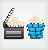 Movie Clapper Board. In popcorn Royalty Free Stock Image
