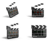 Movie clapper board collection high quality 3d render isolated o Royalty Free Stock Photos