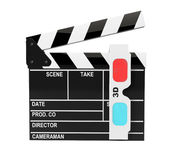 Movie Clapper Board with 3d Anaglyph Glass Royalty Free Stock Images