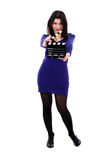 Movie Clapper Board Director Woman Stock Photo