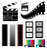 Movie clapper board and filmstrip. On white Stock Images