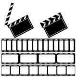 Movie clapper board and filmstrip. Illustration for your design. isolated on white Royalty Free Stock Images