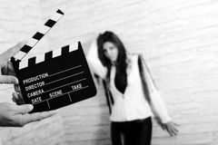 Movie clapper board. Girl with movie clapper board Stock Photography