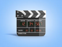 Movie clapper board high quality 3d render on blue. Movie clapper board high quality 3d render on Royalty Free Stock Image