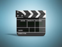 Movie clapper board high quality 3d render on blue. Movie clapper board high quality 3d render on Royalty Free Stock Photo