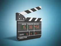 Movie clapper board high quality 3d render on blue. Movie clapper board high quality 3d render on Stock Photos