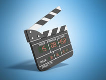Movie clapper board high quality 3d render on blue. Movie clapper board high quality 3d render Royalty Free Stock Photo