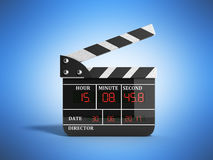 Movie clapper board high quality 3d render on blue. Movie clapper board high quality 3d render on Royalty Free Stock Images