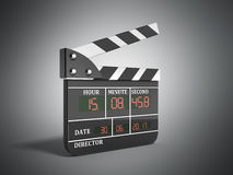 Movie clapper board high quality 3d render on grey Royalty Free Stock Photos
