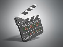 Movie clapper board high quality 3d render on grey. Movie clapper board high quality 3d render on Stock Image