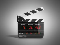 Movie clapper board high quality 3d render on grey. Movie clapper board high quality 3d render on Royalty Free Stock Photo