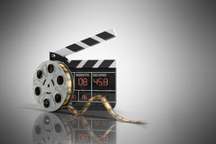 Movie clapper board high quality 3d render on grey. Movie clapper board high quality 3d render on Stock Images