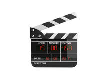 Movie clapper board high quality 3d render on white no shadow. Movie clapper board high quality 3d render on white no Royalty Free Stock Photo