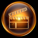 Movie clapper board icon golden Royalty Free Stock Image