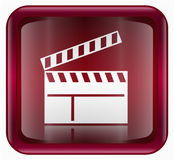Movie clapper board icon red Stock Photography