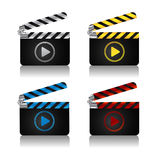 Movie clapper board icons. A set of movie clapper boards with play icon for web Stock Photos