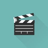 Movie clapper board. Isolated on background with a long shadow. Open clapperboard. Cinematography concept. Template for the director`s instructions, the Royalty Free Stock Image