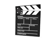 Movie clapper board isolated on white background, clipping path stock image