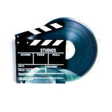 Movie clapper board and 35 mm film reel Royalty Free Stock Photography