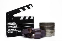 Movie clapper board and 35mm film Stock Image