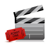 Movie clapper board and movie tickets Royalty Free Stock Photography