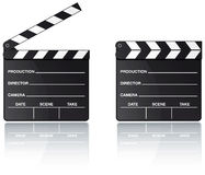 Movie clapper board with reflection. Movie clapper board set with reflection on white background Stock Photos