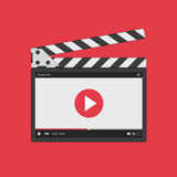 Movie clapper board with video player. Movie clapper board with video player interface. Slate clapper board. Director clapperboard  on red background. Flat Royalty Free Stock Photos