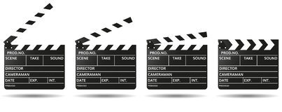 Movie clapper boards isolated on white. Background. Mockup clapperboard. Vector illustration Stock Photos