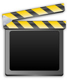 Movie clapper, clapboard, clapperboard, film slate. In black Stock Photography